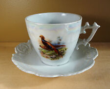 Retsch & Co. RCW Bavaria RXH7 Phesants Lusterware Extra Large Cup/Saucer Ca 1920