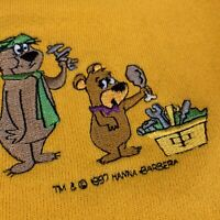 Yogi Bear Sweatshirt Boys Medium Youth Vintage 90s Yellow Cartoon Network TV USA