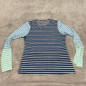 Lands End Rashguard Size Medium Womens White Navy Striped Long Sleeve Swim Shirt