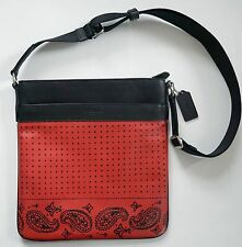 New Authentic COACH Black Red CALF LEATHER Crossbody Messenger Bag F55961