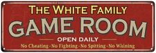 The White Family Personalized Red Game Room Metal Sign 106180038156