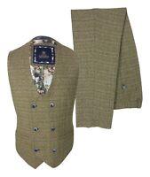 Men's Peaky Blinders Brown Tweed Check Double Breasted Waistcoat Vest Trousers