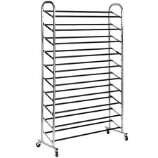 50 Pair Free Standing 10 Tier Shoe Tower Rack Chrome Metal Shoe Rack New