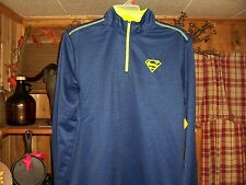 SUPERMAN MENS PULLOVER SHIRT SIZE LARGE ZIPPER NECK COLOR BLUE GREEN CASUAL NEW