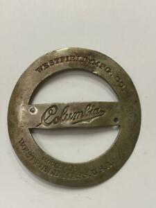 early antique Westfield COLUMBIA  model 006  bicycle HEAD BADGE tag