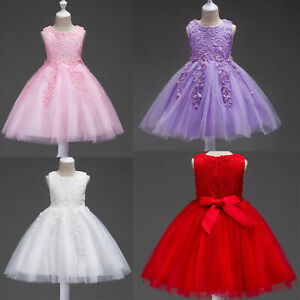 kids Girl Baby Princess Lace Dress Flower Party Pageant Prom Bridesmaid Wedding