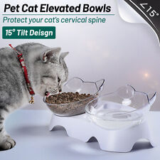 Non-slip Cat Double Bowls w/ Raised Stand Pet Dog Food Water Feeder Dish Drink
