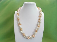 Genuine Freshwater Pearl Necklace Handcraft Unique Design Free Velvet Gift Box