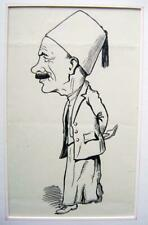 INDIA MADRAS CARICATURES ENGLISHMAN IN NATIVE DRESS HAROLD F PRYNNE INK C1930
