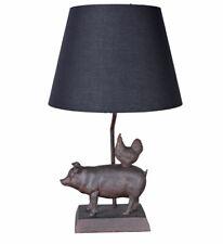 Dekoleuchte Sau & Huhn Bauerndeko Tischlampe Tischleuchte Lampe Tierfigur Statue