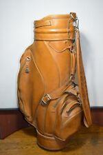Ram Golf Cart Bag Pro Model Gray/Burgundy 3 Way Tan Faux Leather 5 Zip Pockets