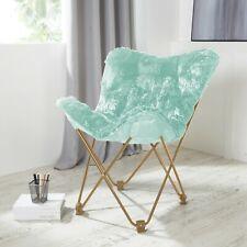 Comfy AQUA Faux Fur Butterfly Folding Chair Seat Teens Dorm Bedroom Furniture