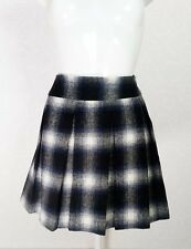 PAPAYA black blue white Check wool blend Mini pleated front Flare skirt 14 W32
