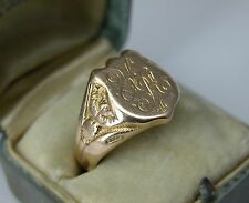 1910 RUSSIAN IMPERIAL 56 14K GOLD MEN SIGNET RING COAT OF ARMS SZ 10.5 ANTIQUE