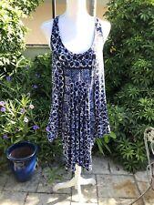 Michael Kors Trapeze Dress Pockets Blue/black Comfy Lounge Quarantine XS-L