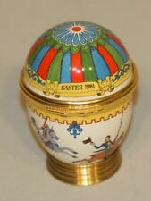 1981 Halcyon Days Enamel Trinket Box Easter Egg Carousel Horses