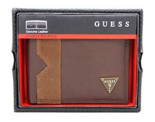 NEW GUESS BROWN LEATHER DOUBLE BILLFOLD CREDIT CARDS MEN'S WALLET
