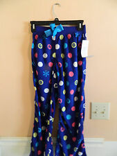 NWT Gap Kids girl navy fleece sleep pants w/multicolored polka dots; size 4
