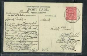 JAMAICA COVER (P3006B)  1909 JAMAICA 1D ARMS ON PPC TO CHILE!   WOW