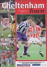Football Programme>CHELTENHAM TOWN v EXETER CITY Oct 2001