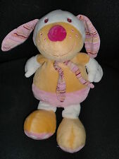 doudou peluche chien orange jaune rose BABYSUN musical HS 32cm