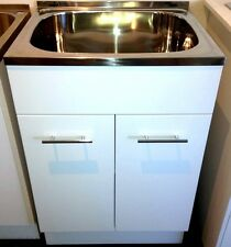 45L Gloss White Timber Cabinet Laundry Tub