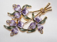 Pin Brooch - Comes In Gift Box Lovely 3D Purple Enamel Orchids & Clear Crystal