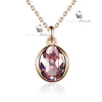 18k rose gold gf made with oval pink SWAROVSKI crystal pendant necklace