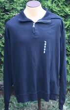 Men's NWT Black Nautica 1/4 Zip Pullover with Elbow Patches 100% Cotton Size XL