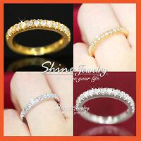 24K GOLD GF LADIES ETERNITY BAND ANNIVERSARY WEDDING RING W/ SIMULATED DIAMONDS