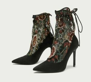 ZARA BLACK EMBROIDERED LACE STOCKING HIGH HEEL BOOTS UK 5 REF:6264/201 RRP £69