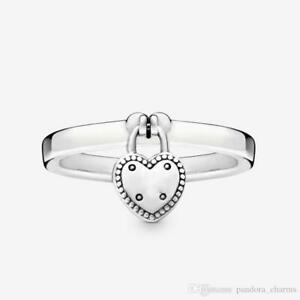 PANDORA LOVE LOCK RING HEART SHAPED  STERLING SILVER S925 ALE , PICK SIZE
