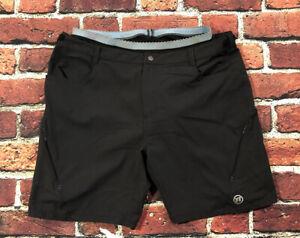 Novara Cycling Shorts M Black Padded Lined Flat Front 100% Nylon Mint YGI Q0-287