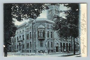 Bay City MI-Michigan, Masonic Temple, Vintage c1907 Postcard