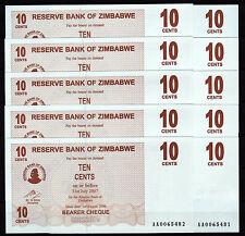 Zimbabwe 10 pcs x 10 Cents 2006 / AA-prefix (consecutive), UNC (P-35)