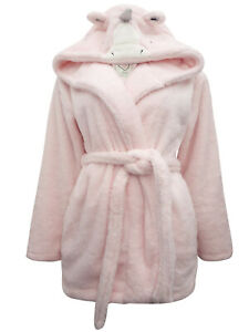 Ladies PINK Fluffy Unicorn Hooded Dressing Gown Size Small RRP £45 LDOct05-8