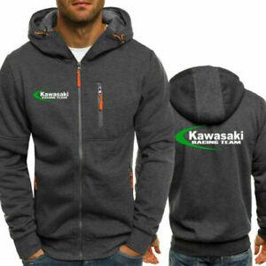 ~Kawasaki Hoodie Sporty Jacket Full Zip up Coat Autumn Sweater Tops Team Race~