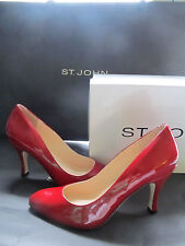 NEW ST JOHN KNIT SIZE 6 M WOMENS SHOES RED PATENT LEATHER HEELS 3.5""
