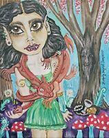Fae Knucker Dragon gothic Art Print 8x10 Signed by KSams Faery Fangs Tree Spirit
