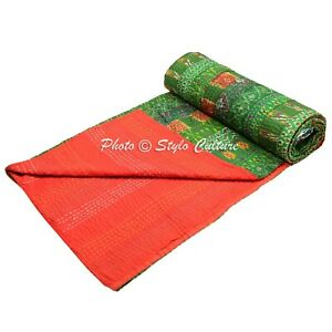 Indian Bed Cover Queen Patola Silk Reversible Kantha Quilt Blanket   Quilts
