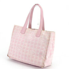 CHANEL Tote Bag New Travel Line Pink Nylon Jacquard  Leather Auth used T17522