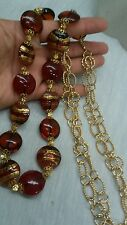Stunning vintage big Italian venetian red gold  art glass necklace