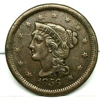 1856 Large Cent Braided Hair 1C High Grade US Copper Coin.