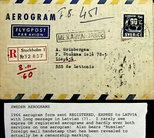 SWEDEN 1966 RARE REGD EXPRESS AEROGRAM TO LATVIA WITH RUSSIA CONNECTION