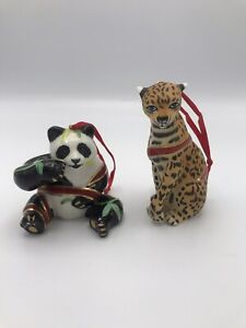 2004 Lynn Chase Holiday Ornament Collection of 2 (Jaguar and Panda)