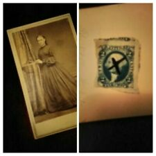 RARE 1864 George Washington BLUE 2 Cent Bank Check STAMP.  Vintage. Authentic.