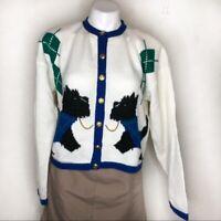 Scotty Dogs Cardigan Vintage White Blue Medium
