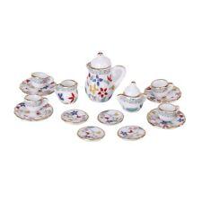 15 Pcs Miniature Dollhouse dinnerware porcelain tea set tableware Cup plate LW