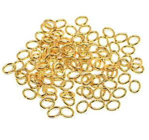 6mm x 4mm gold plated brass open oval jump rings 18 gauge