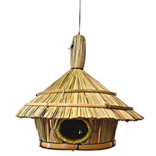 Vie Naturals Bird House, Straw With Roof,Approximately 30cm Hanging Height
